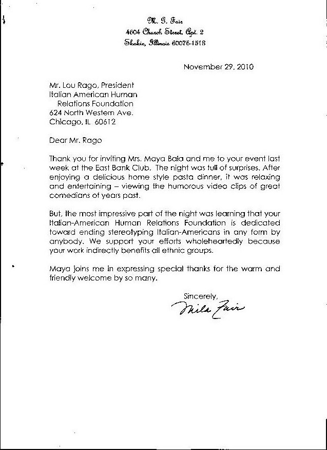 Italian american human relations foundation of chicago foundation view letter fandeluxe Choice Image